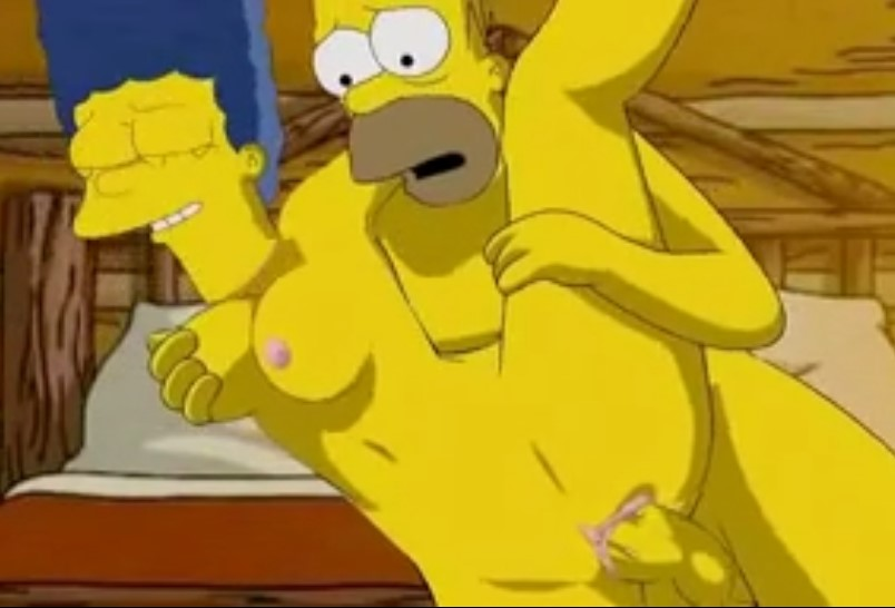 Homero Simpson rompiéndole el coño a su mujer - los simpsons-xxx-porno-hentai-video